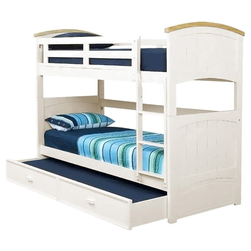 Ranch Wooden King Single Bunk Bed With Trundle