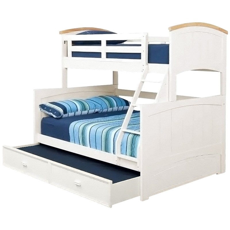 Ranch Wooden Trio Bunk Bed with Single Trundle