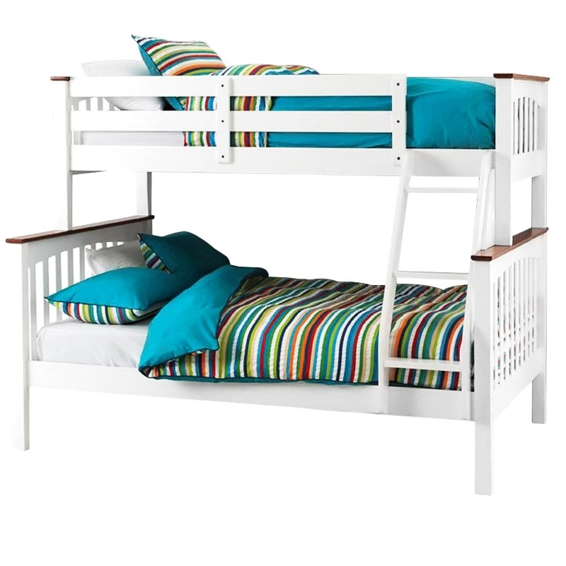 Sarah Two-tone Solid New Zealand Pine Timber Trio Bunk Bed - White / Walnut