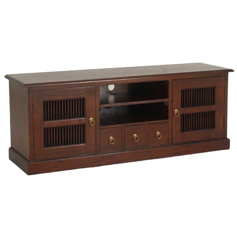 Ruji Solid Mahogany Timber 2 Door 3 Drawer 160cm TV Unit - Mahogany