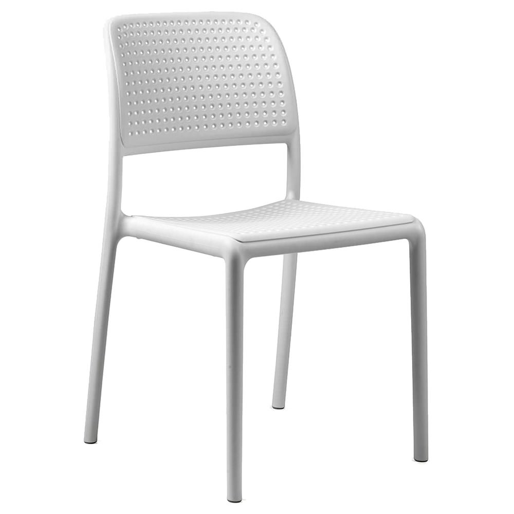 Bora Italian Made Commercial Grade Stackable Indoor/Outdoor Side Chair - White