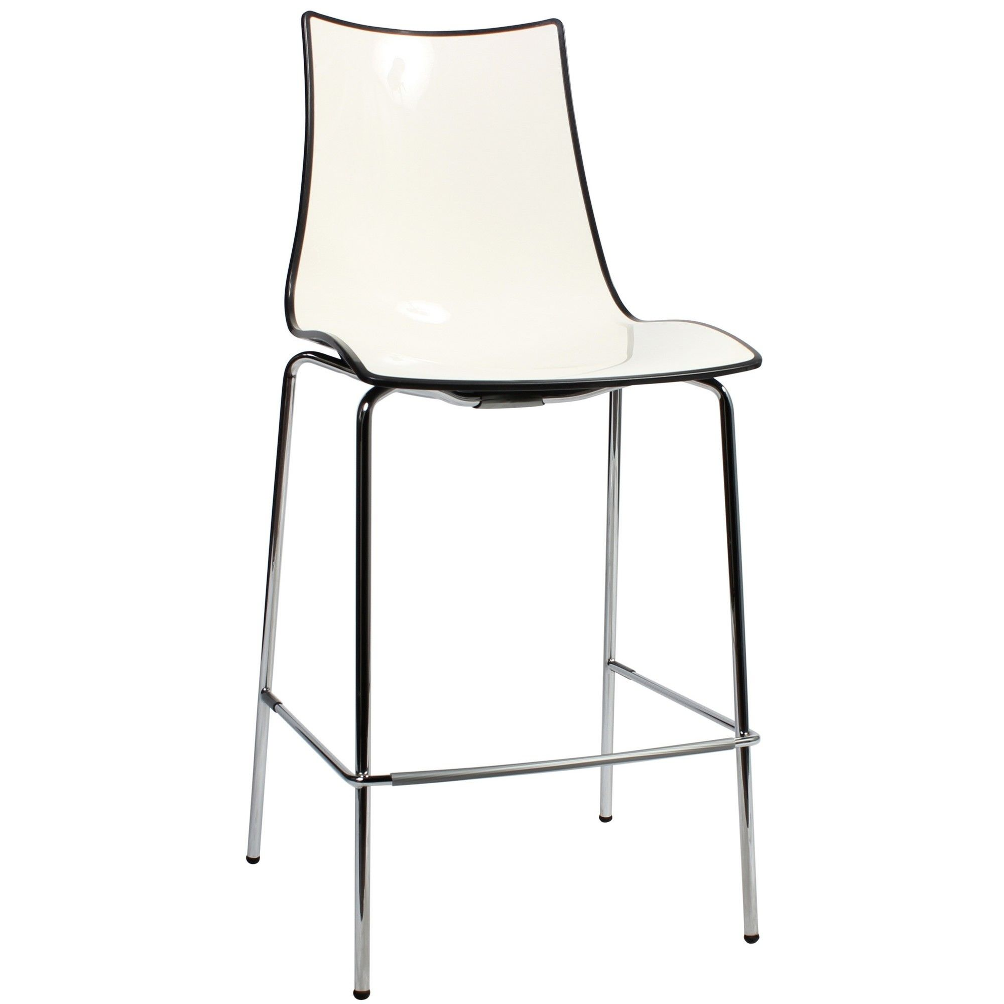 Zebra Bicolore Italian Made Commercial Grade Counter Stool, Metal Leg, Anthracite / Chrome