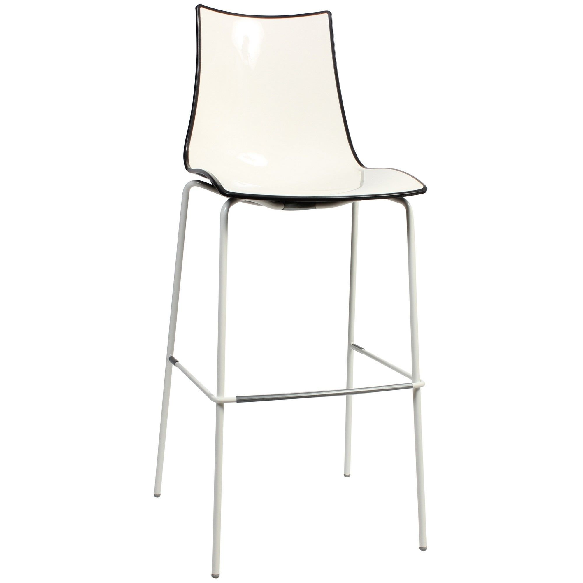 Zebra Bicolore Italian Made Commercial Grade Indoor/Outdoor Bar Stool, Metal Leg, Anthracite / White