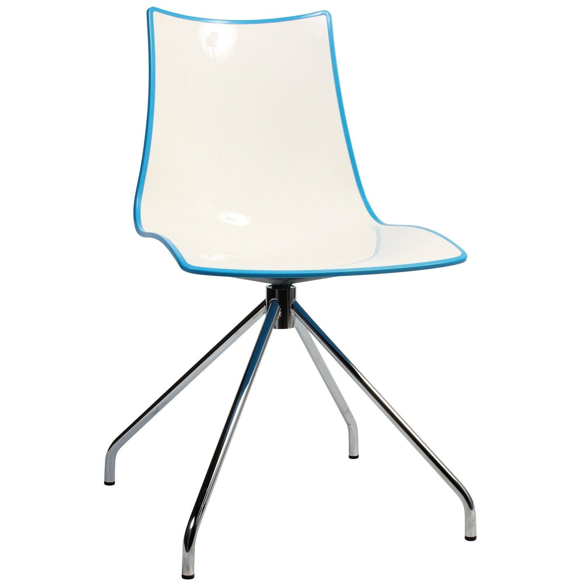 Zebra Bicolore Italian Made Commercial Grade Dining Chair, Trestle Leg, Blue / Chrome