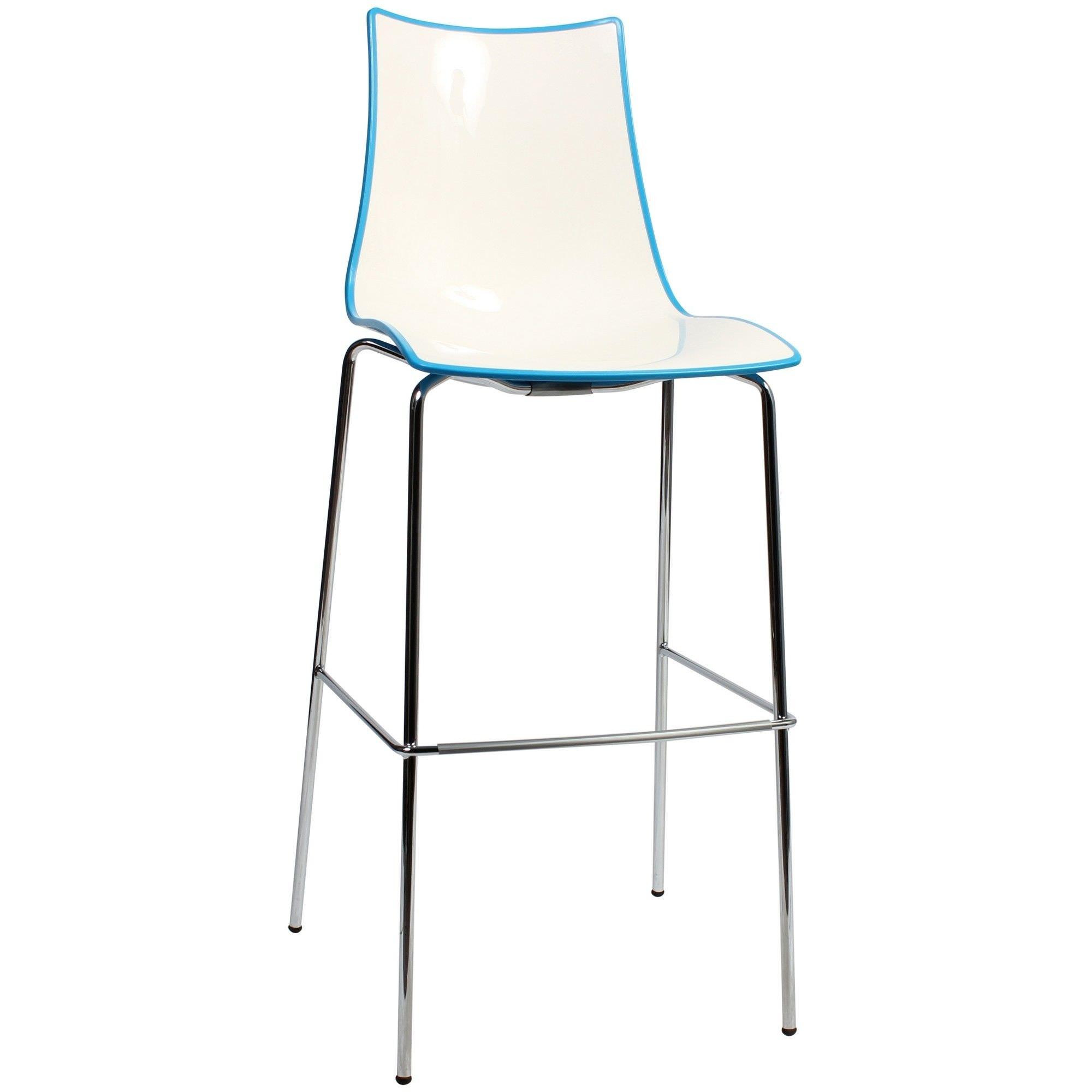 Zebra Bicolore Italian Made Commercial Grade Bar Stool, Metal Leg, Blue / Chrome