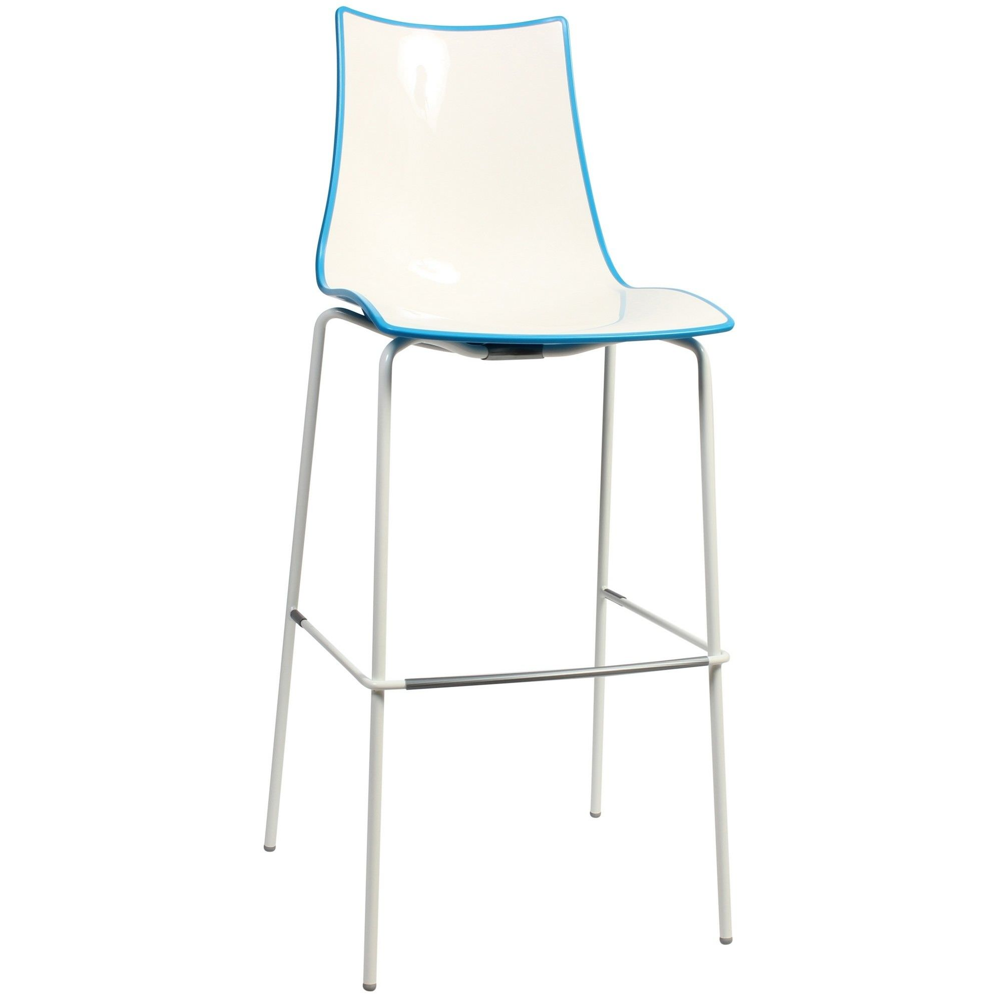 Zebra Bicolore Italian Made Commercial Grade Indoor/Outdoor Bar Stool, Metal Leg, Blue / White