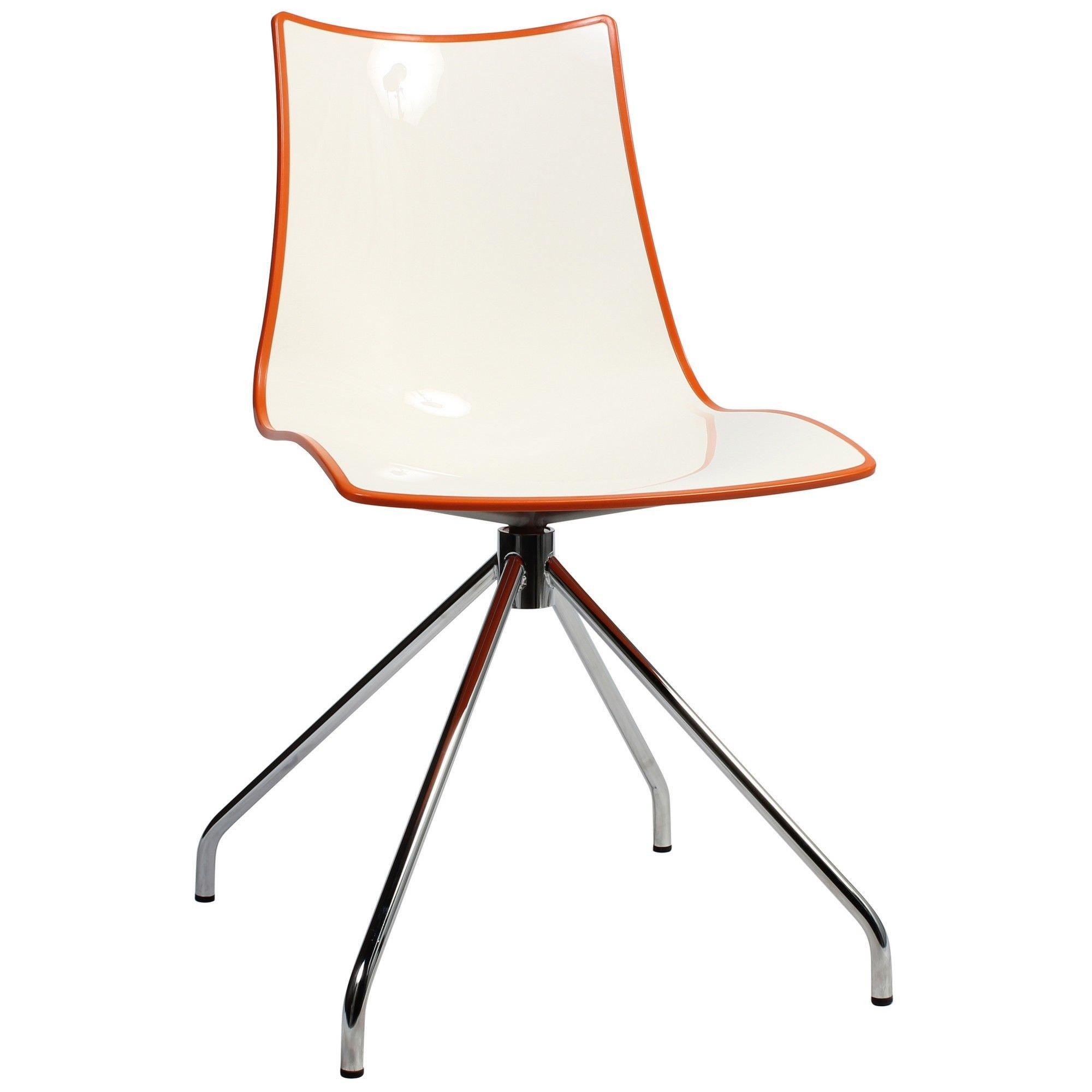 Zebra Bicolore Italian Made Commercial Grade Dining Chair, Trestle Leg, Orange / Chrome