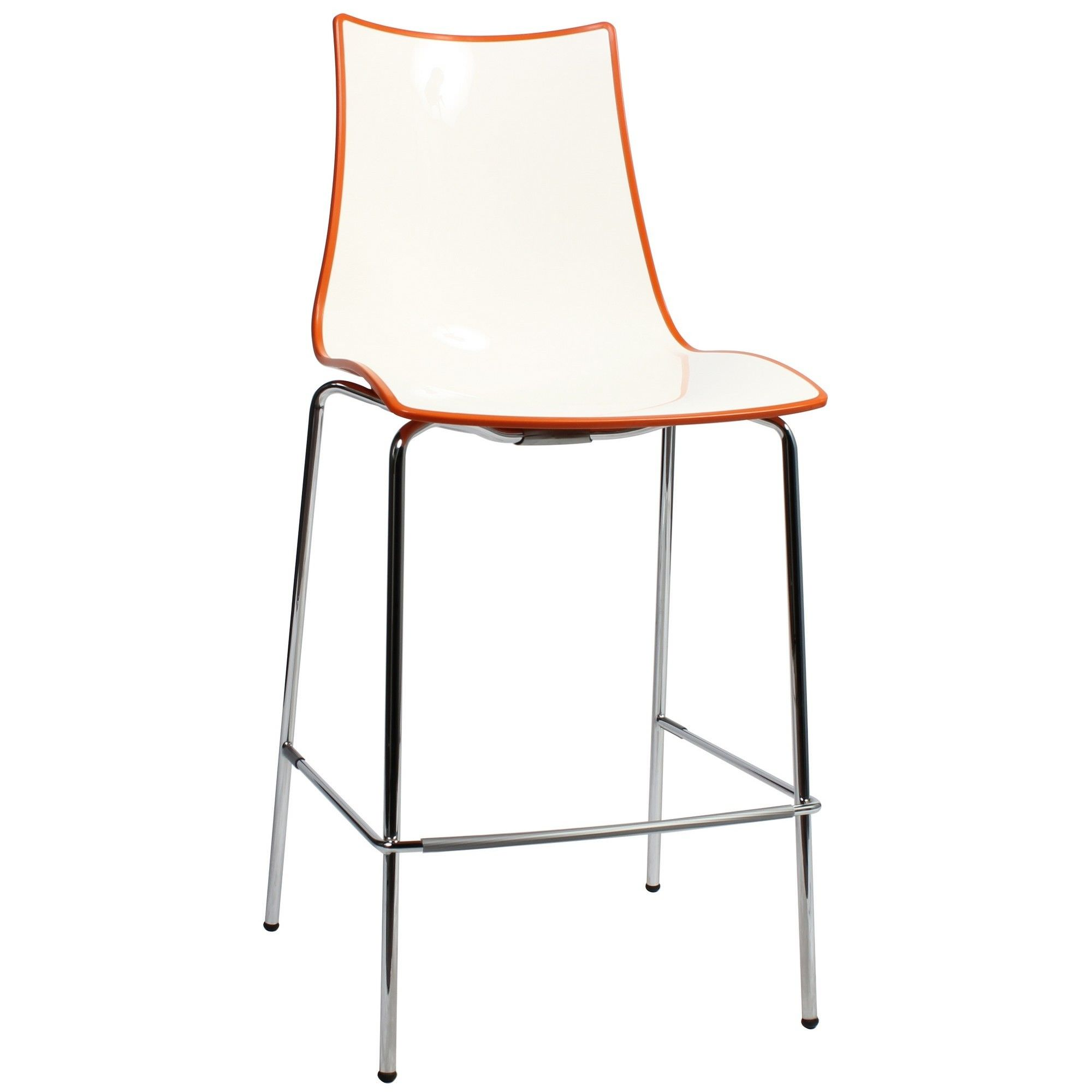 Zebra Bicolore Italian Made Commercial Grade Counter Stool, Metal Leg, Orange / Chrome
