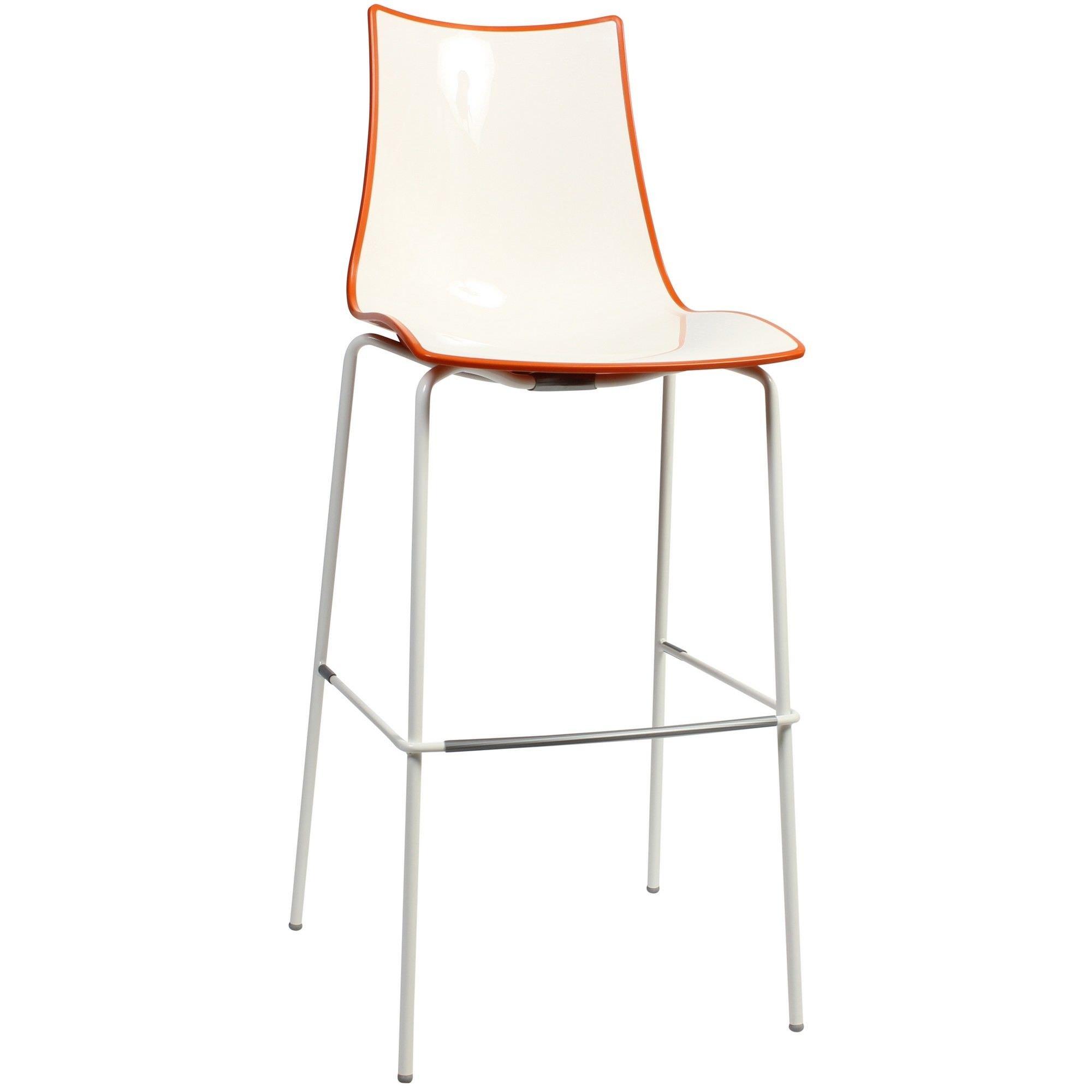 Zebra Bicolore Italian Made Commercial Grade Indoor/Outdoor Bar Stool, Metal Leg, Orange / White