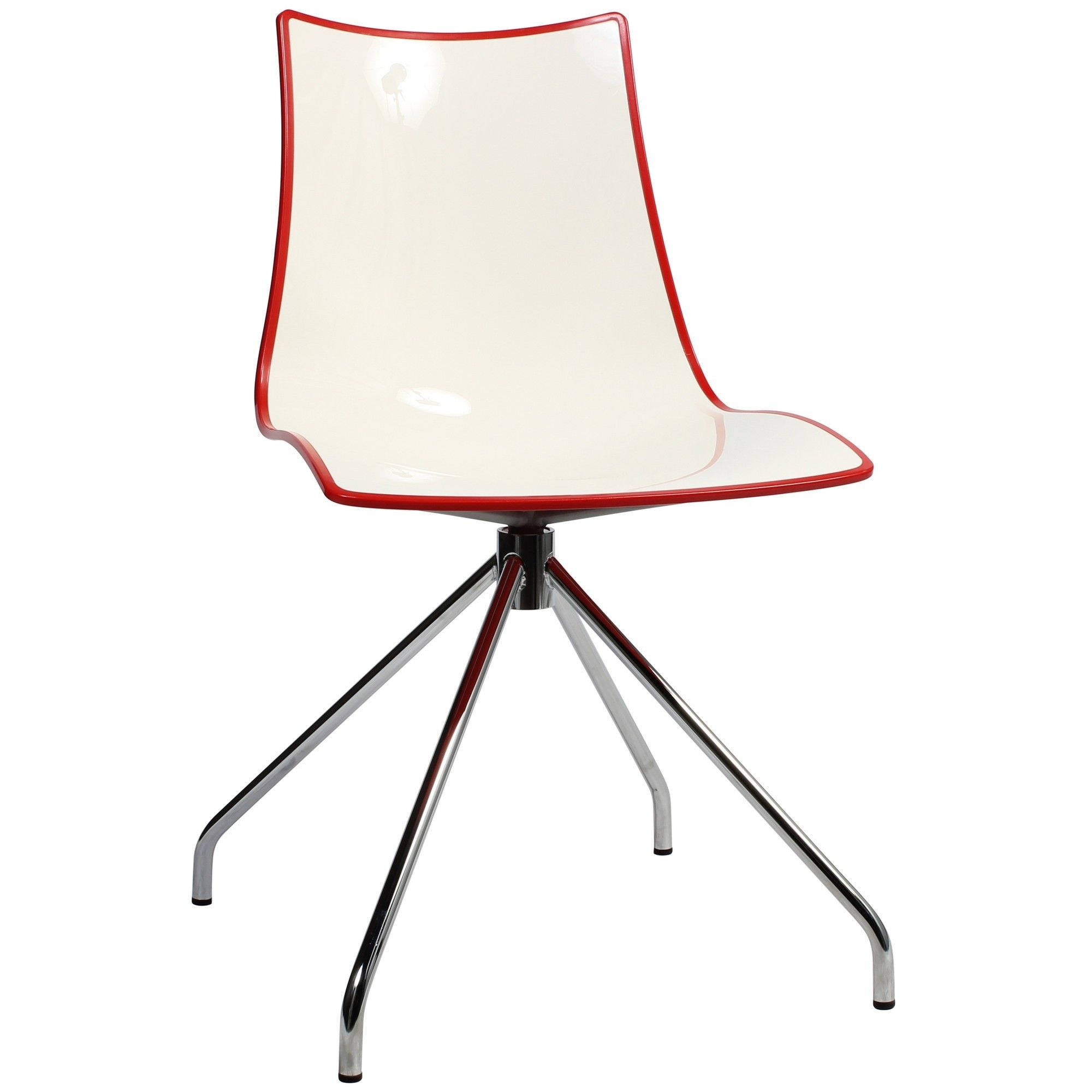 Zebra Bicolore Italian Made Commercial Grade Dining Chair, Trestle Leg, Red / Chrome