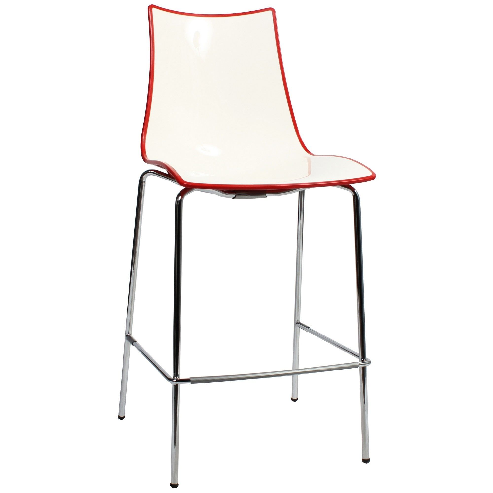 Zebra Bicolore Italian Made Commercial Grade Counter Stool, Metal Leg, Red / Chrome