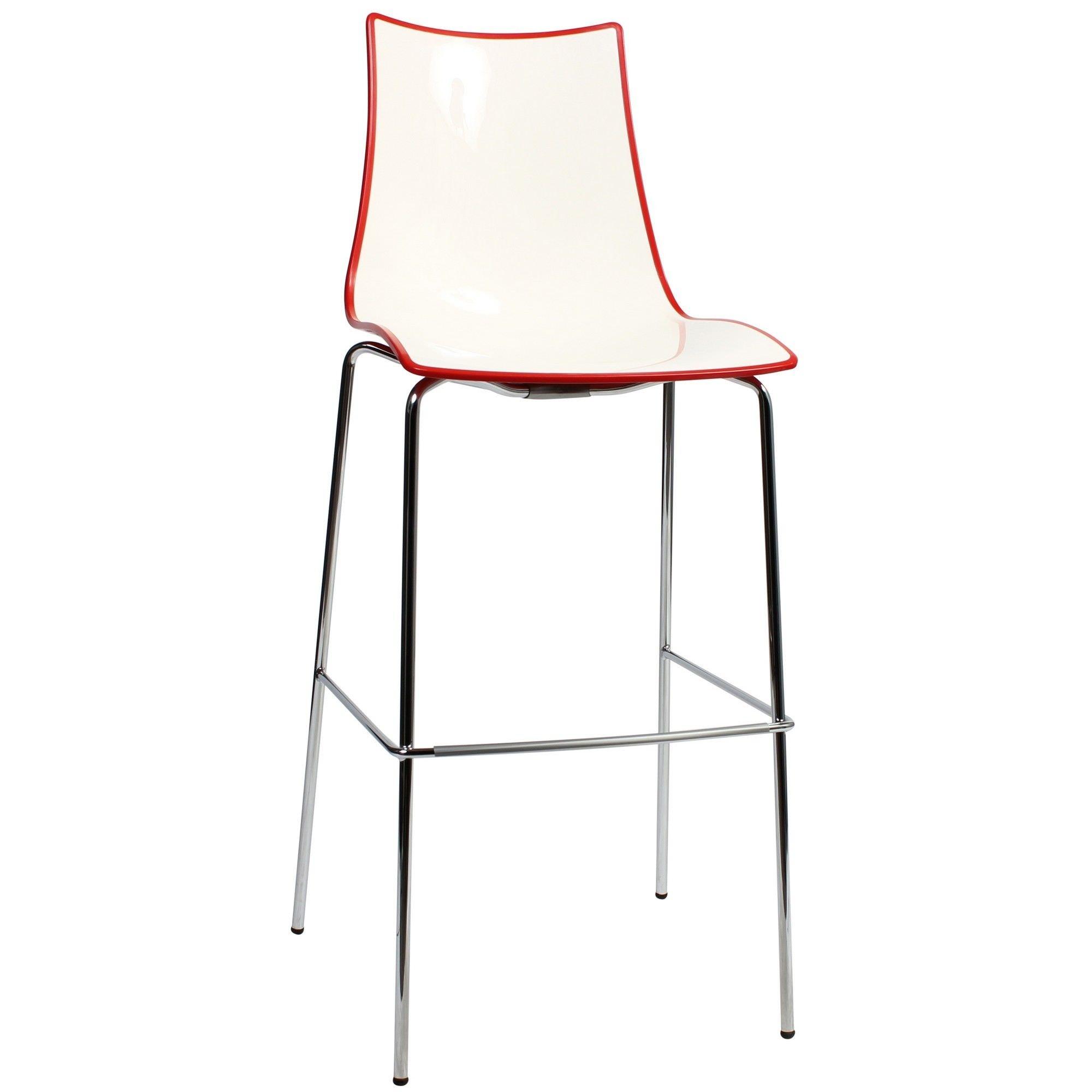 Zebra Bicolore Italian Made Commercial Grade Bar Stool, Metal Leg, Red / Chrome