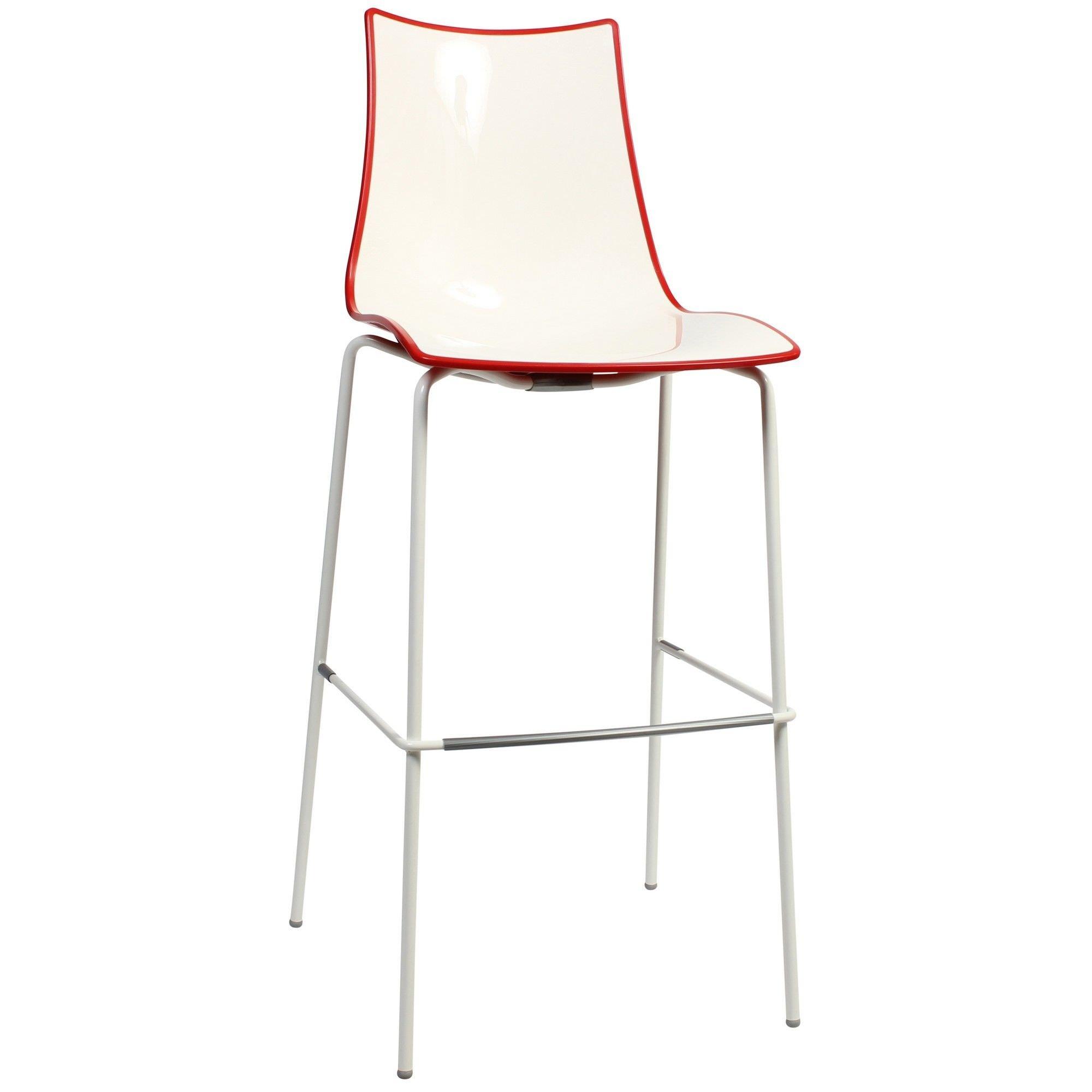 Zebra Bicolore Italian Made Commercial Grade Indoor/Outdoor Bar Stool, Metal Leg, Red / White