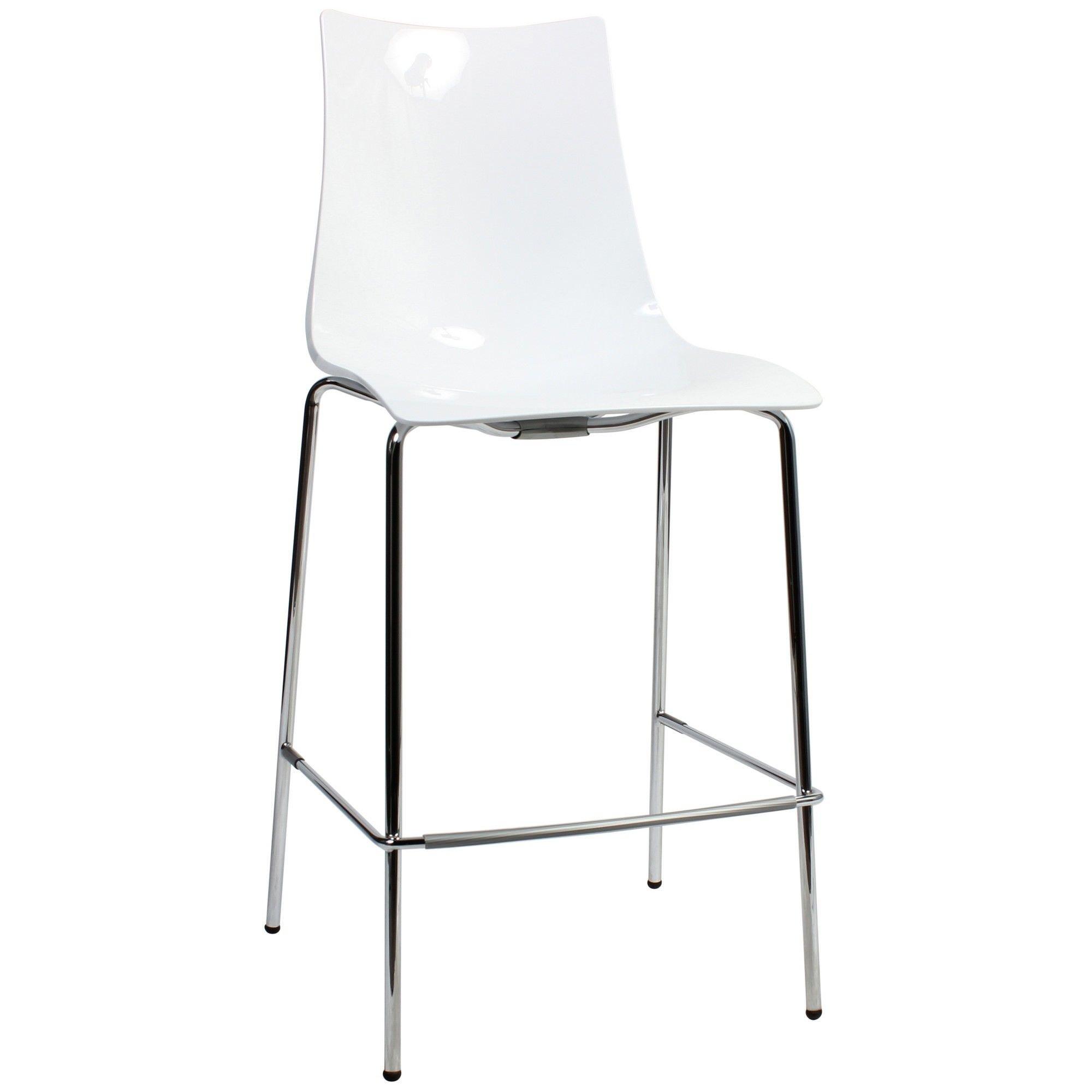 Zebra Italian Made Commercial Grade Counter Stool, Metal Leg, White / Chrome