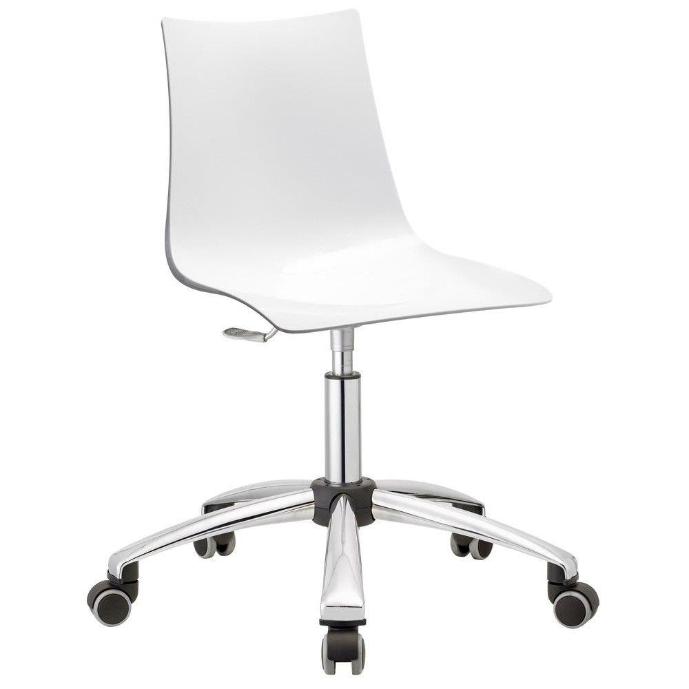 Zebra Italian Made Commercial Grade Gas Lift Office Chair, White
