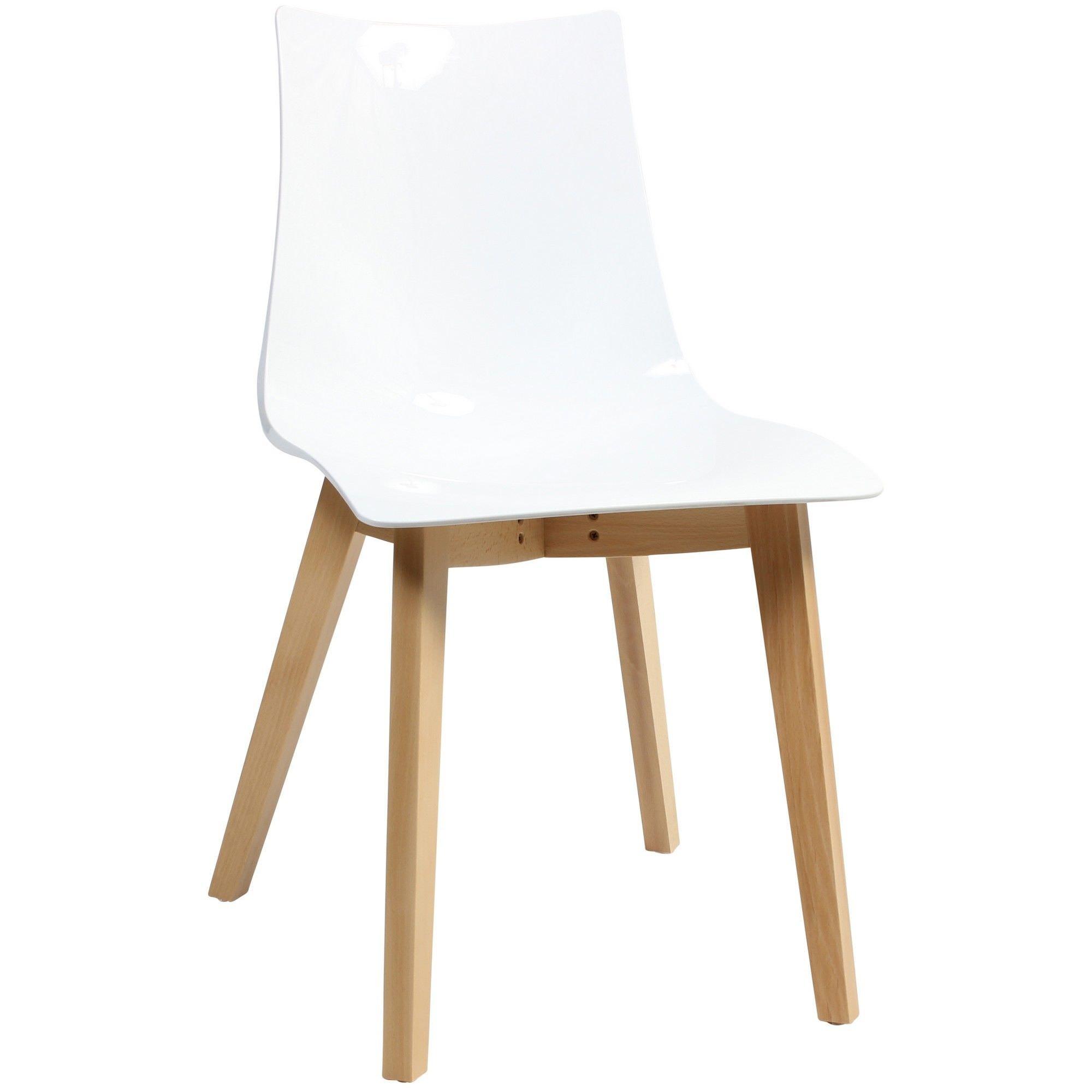 Zebra Italian Made Commercial Grade Dining Chair, Timber Leg, White / Natural