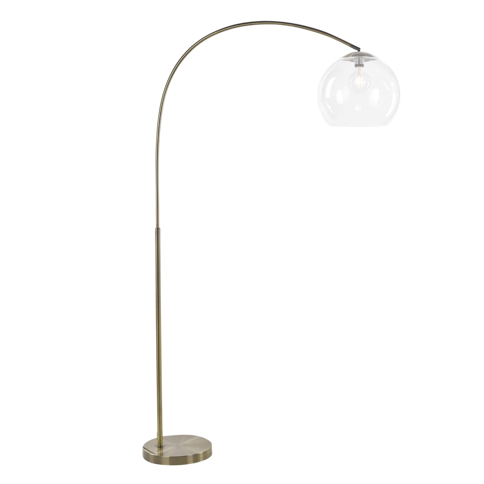 Over Metal Arc Floor Lamp, Antique Brass