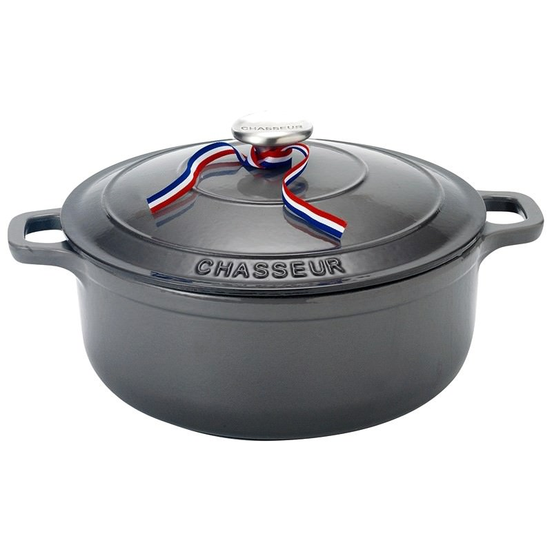 Chasseur Cast Iron Round French Oven, 28cm, Caviar