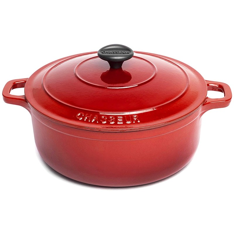 Chasseur Cast Iron Round French Oven, 26cm, Inferno Red