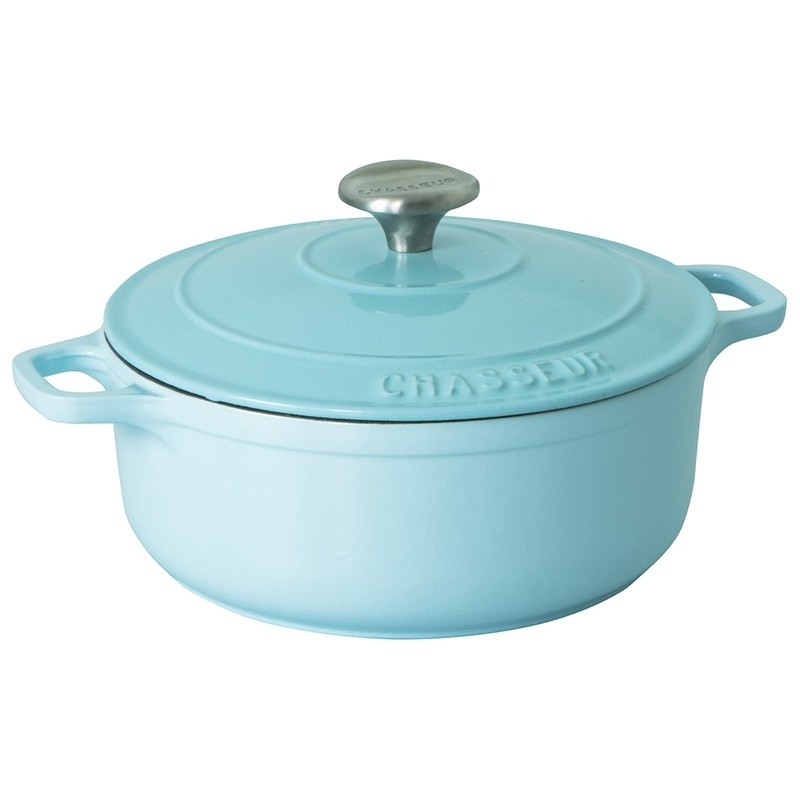Chasseur Cast Iron Round French Oven, 28cm, Duck Egg Blue