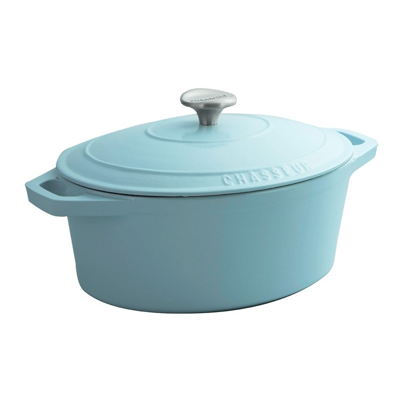 Chasseur Cast Iron Oval French Oven, 27cm, Duck Egg Blue