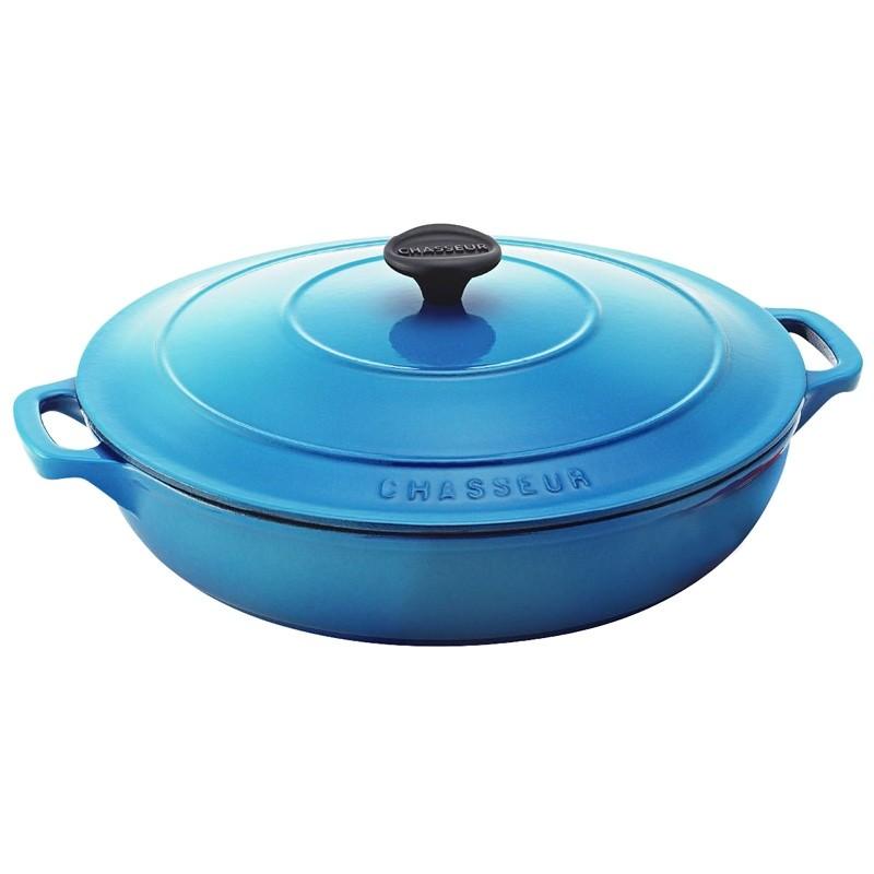 Chasseur Cast Iron Round Casserole, 30cm, Riviera Blue