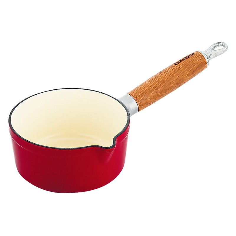 Chasseur Cast Iron Milk Pan, 14cm, Federation Red