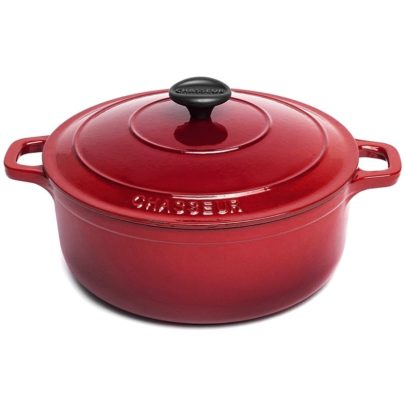 Chasseur Cast Iron Round French Oven, 26cm, Federation Red