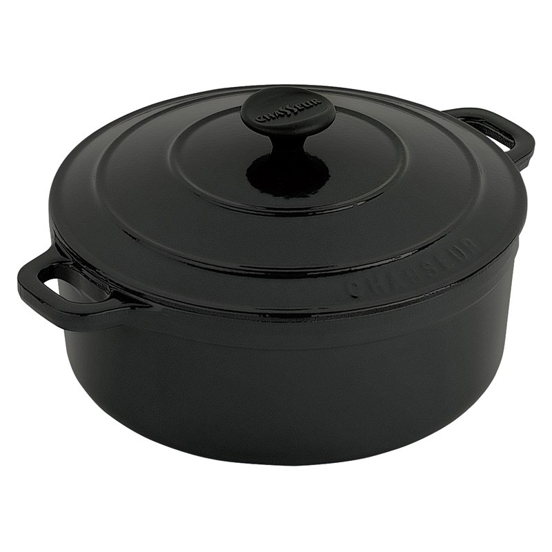 Chasseur Cast Iron Round French Oven, 32cm, Matte Black