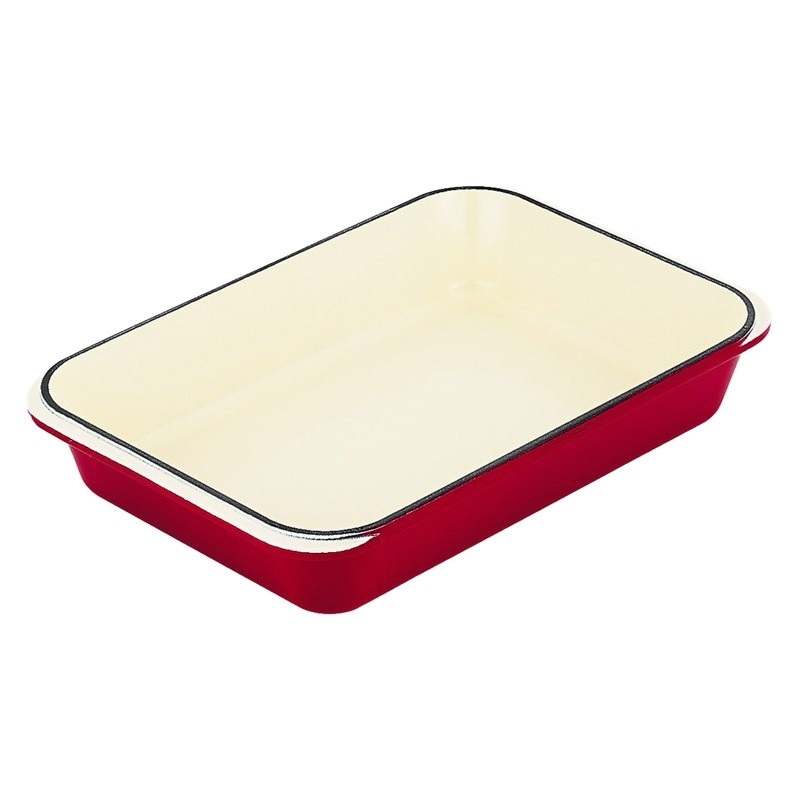Chasseur Cast Iron Rectangular Roaster, 33x21cm, Federation Red