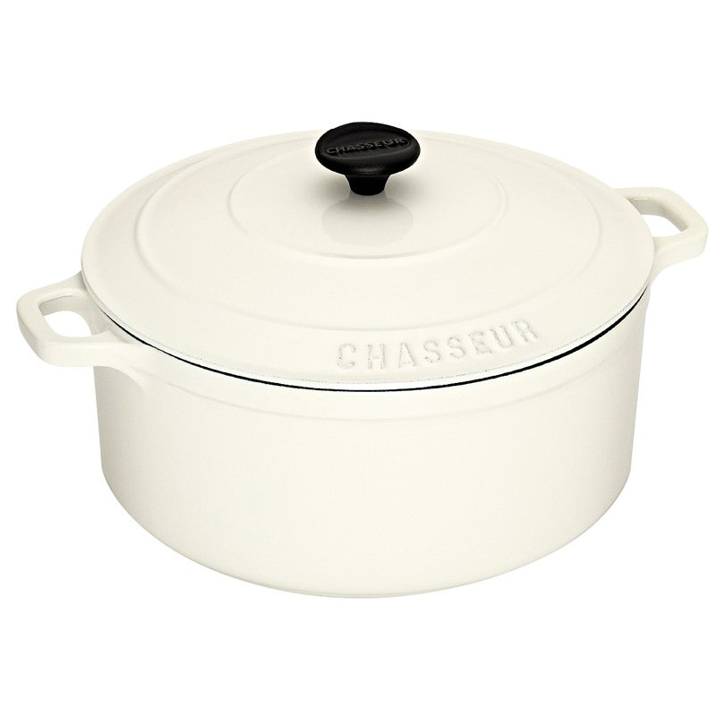 Chasseur Cast Iron Round French Oven, 26cm, Brilliant White