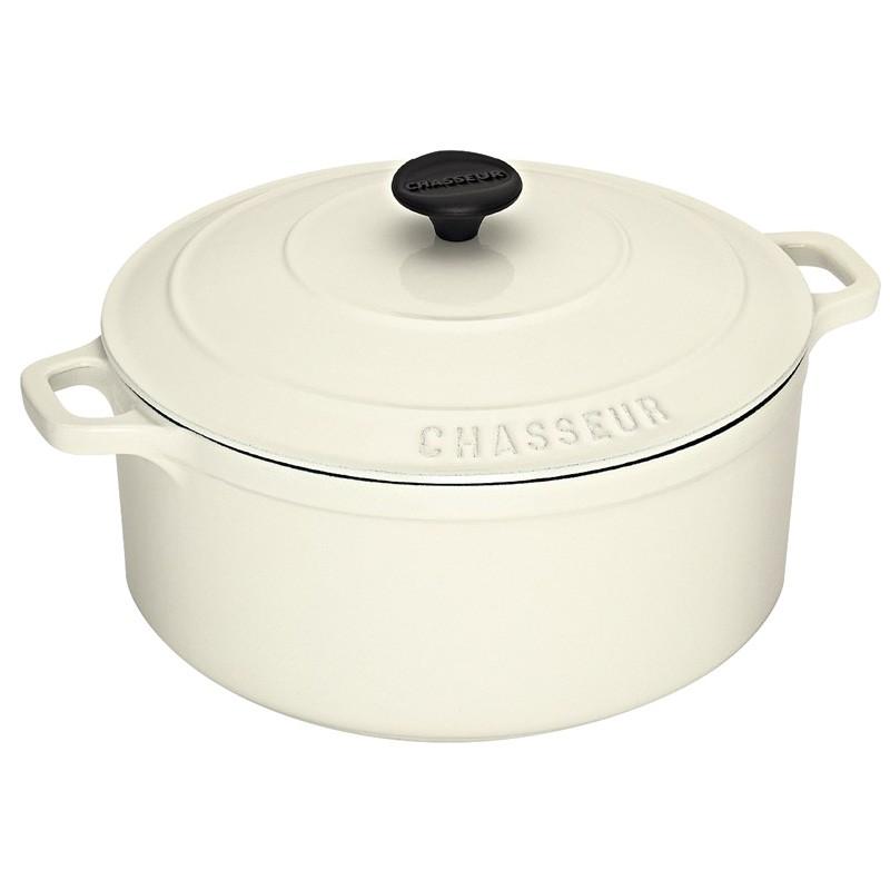 Chasseur Cast Iron Round French Oven, 28cm, Brilliant White