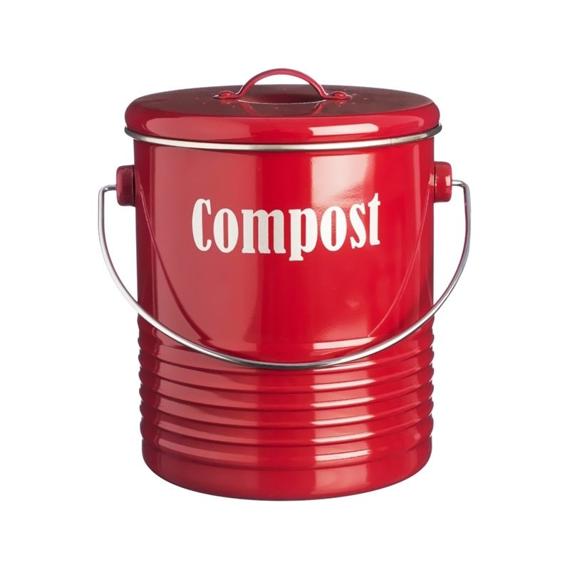Typhoon Vintage Kitchen Compost Caddy - Red