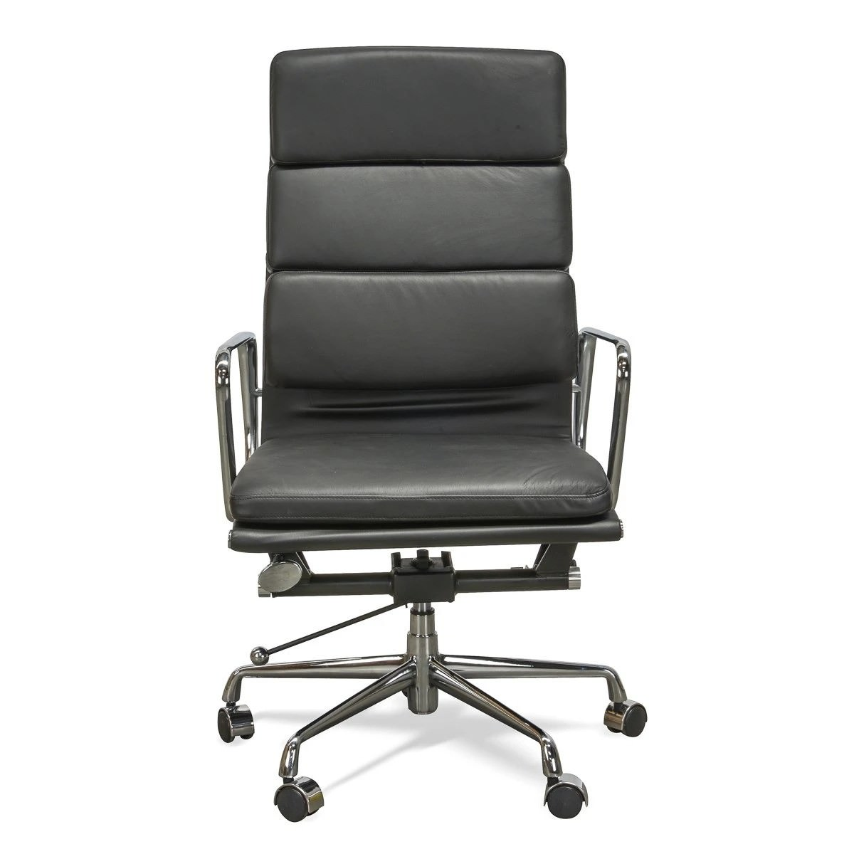 Replica Eames Italian Leather Soft Pad Office Chair, High Back, Black / Silver