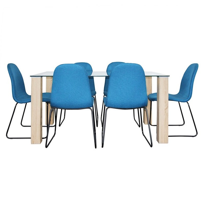 Emilio 7 Piece Glass Top Dining Table Set, 160cm, Blue Barton Chair