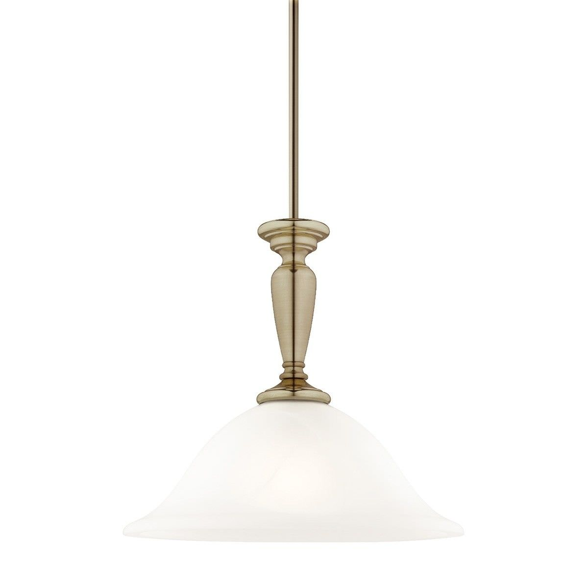 Stepney Metal & Glass Pendant Light, Antique Brass