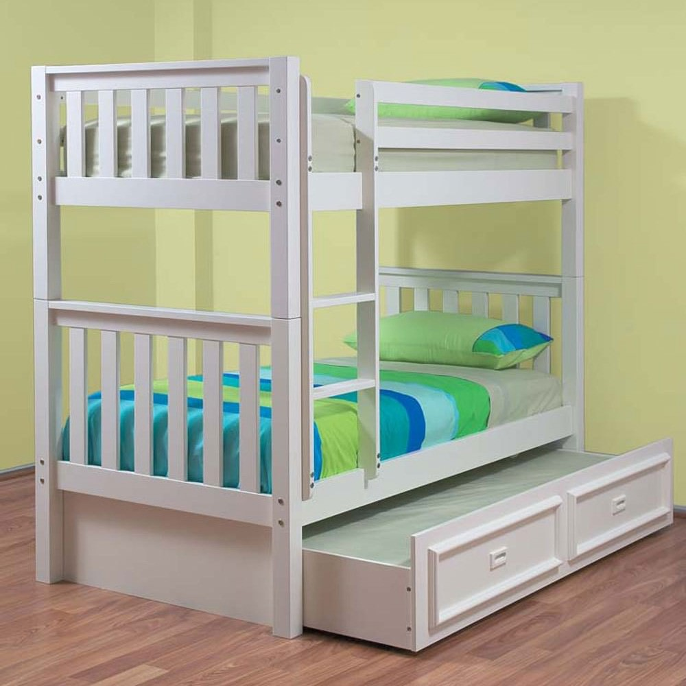 Sussex Wooden Single Bunk Bed without Trundle - Arctic White