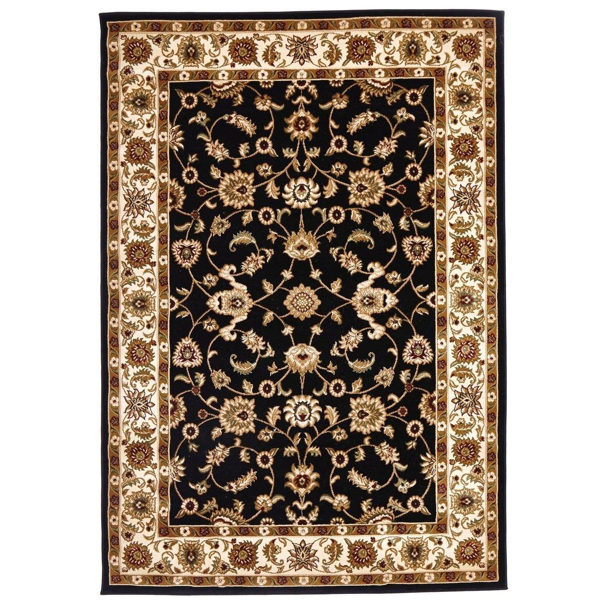Sydney Classic Turkish Made Oriental Rug, 290x200cm, Black / Ivory
