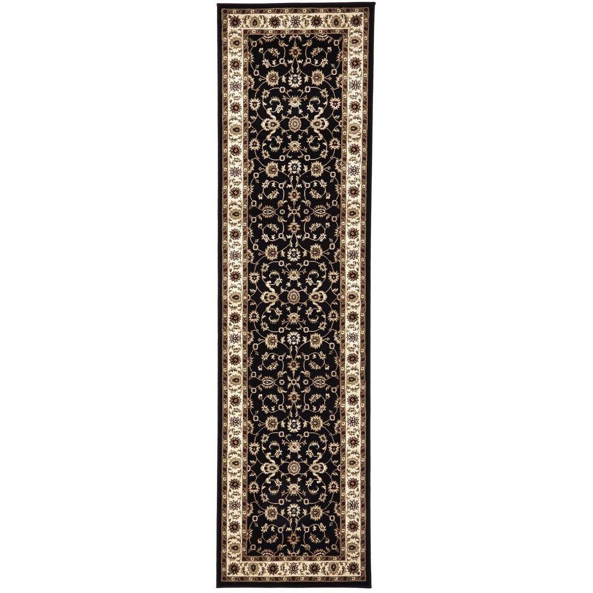 Sydney Classic Turkish Made Oriental Runner Rug, 300x80cm, Black / Ivory