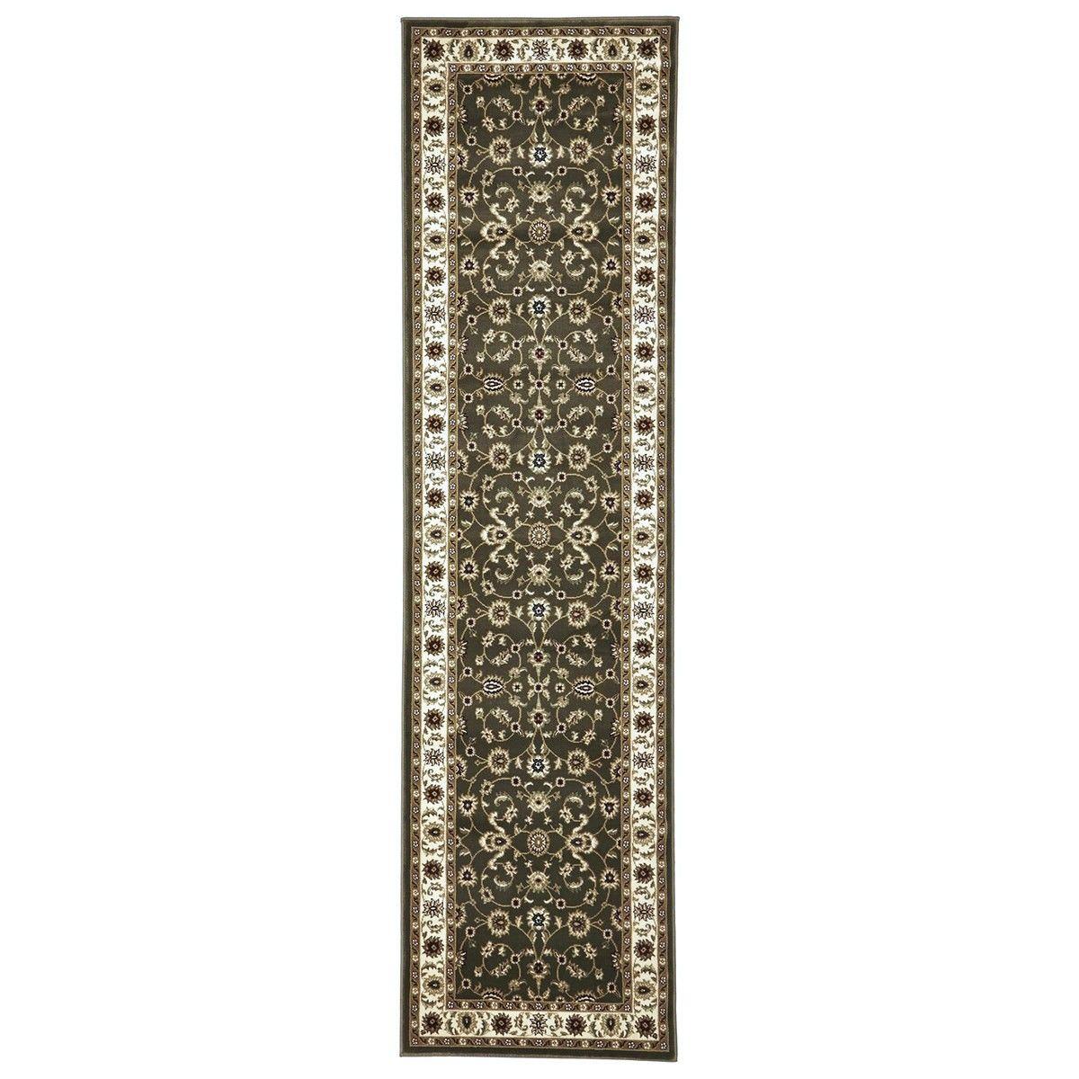 Sydney Classic Turkish Made Oriental Runner Rug, 400x80cm, Green / Ivory