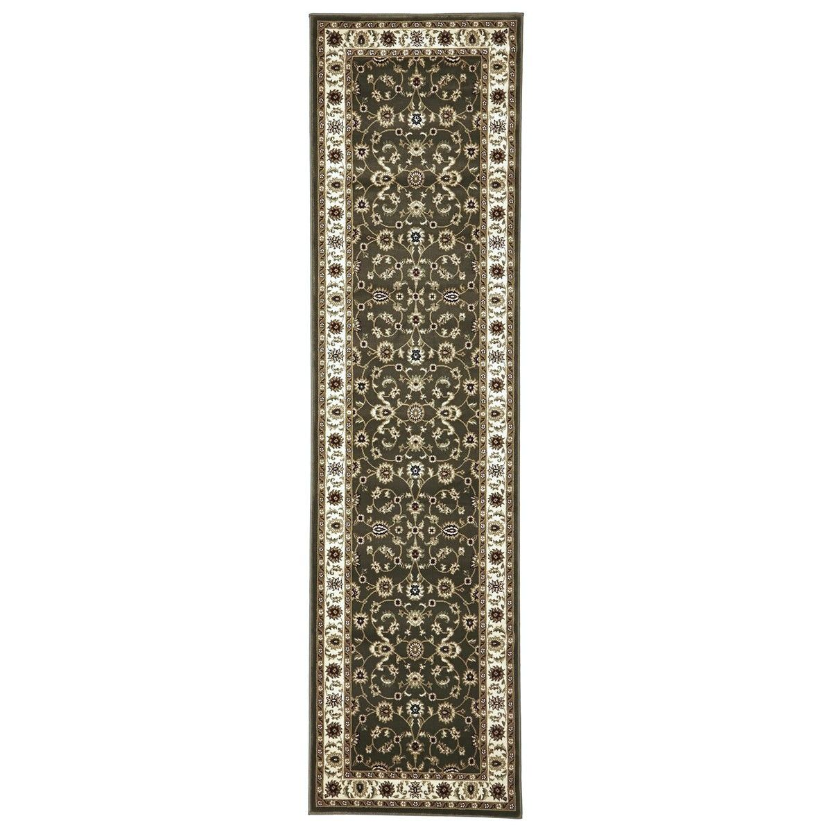 Sydney Classic Turkish Made Oriental Runner Rug, 300x80cm, Green / Ivory