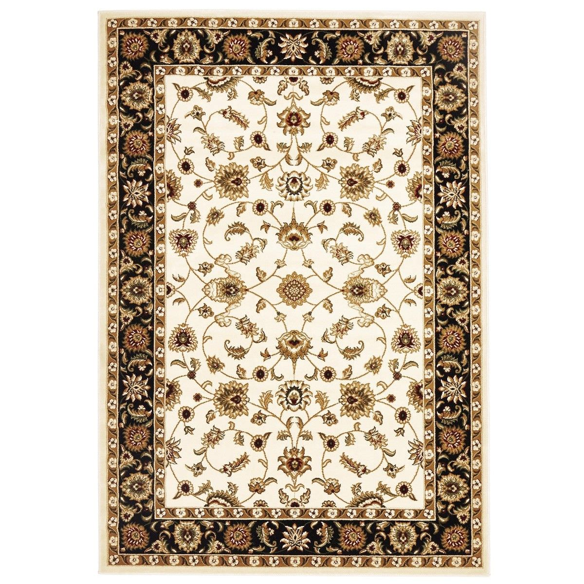Sydney Classic Turkish Made Oriental Rug, 150x80cm, Ivory / Black