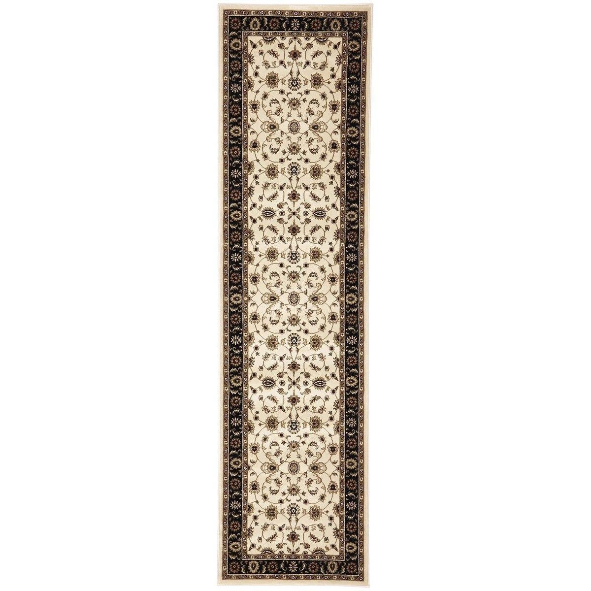 Sydney Classic Turkish Made Oriental Runner Rug, 400x80cm, Ivory / Black