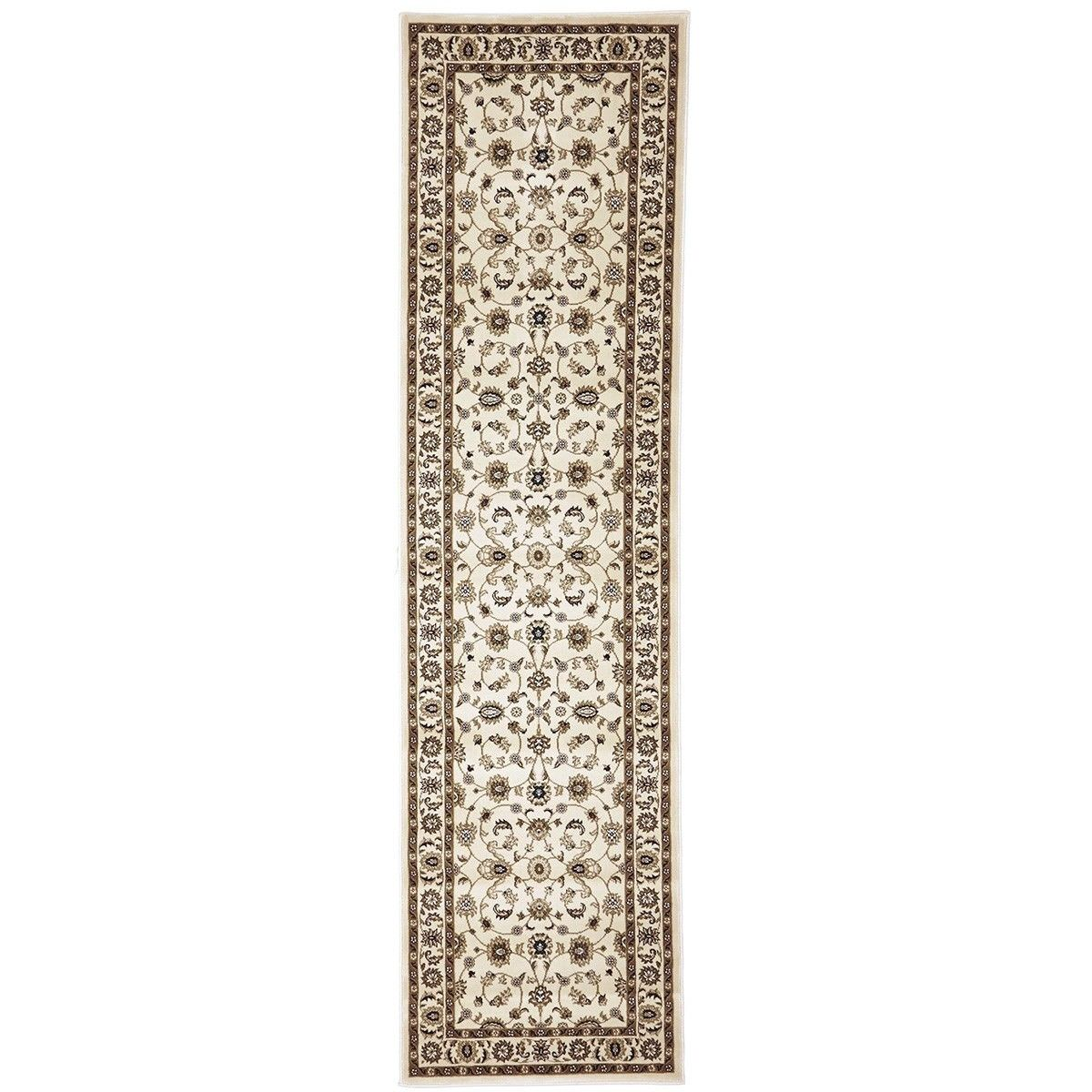 Sydney Classic Turkish Made Oriental Runner Rug, 400x80cm, Ivory