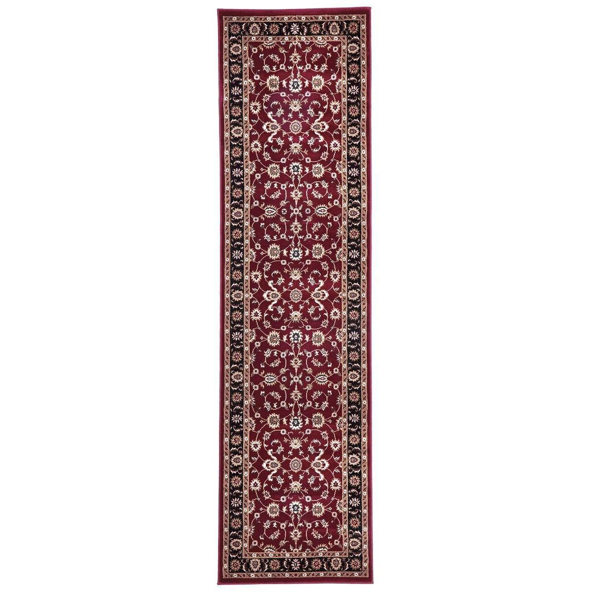 Sydney Classic Turkish Made Oriental Runner Rug, 300x80cm, Red / Black