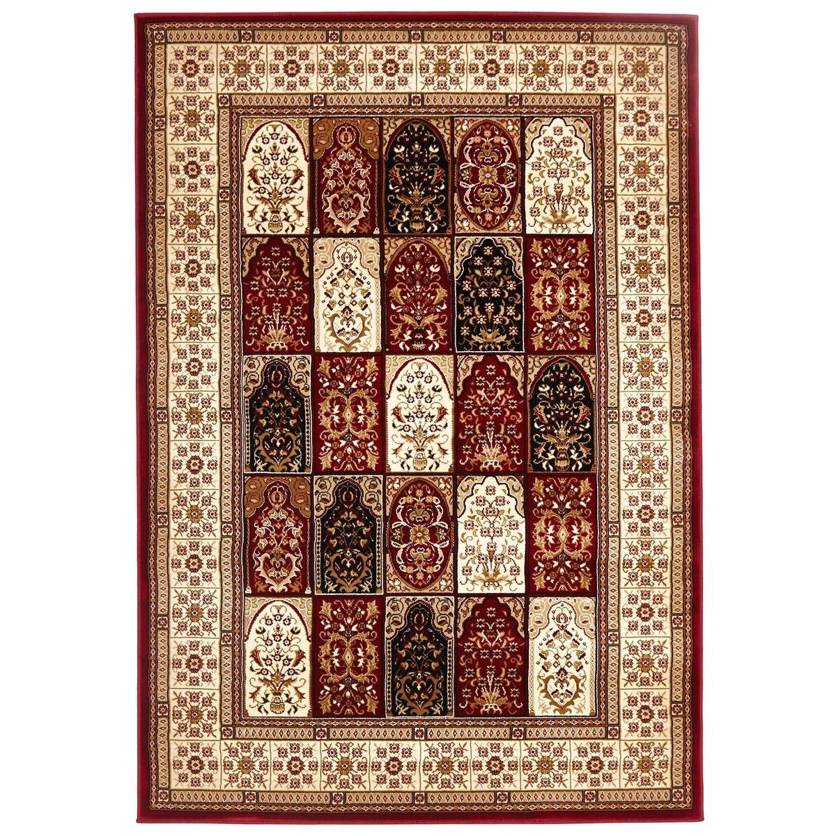 Sydney Traditional Tile Turkish Made Oriental Rug, 330x240cm, Red / Ivory