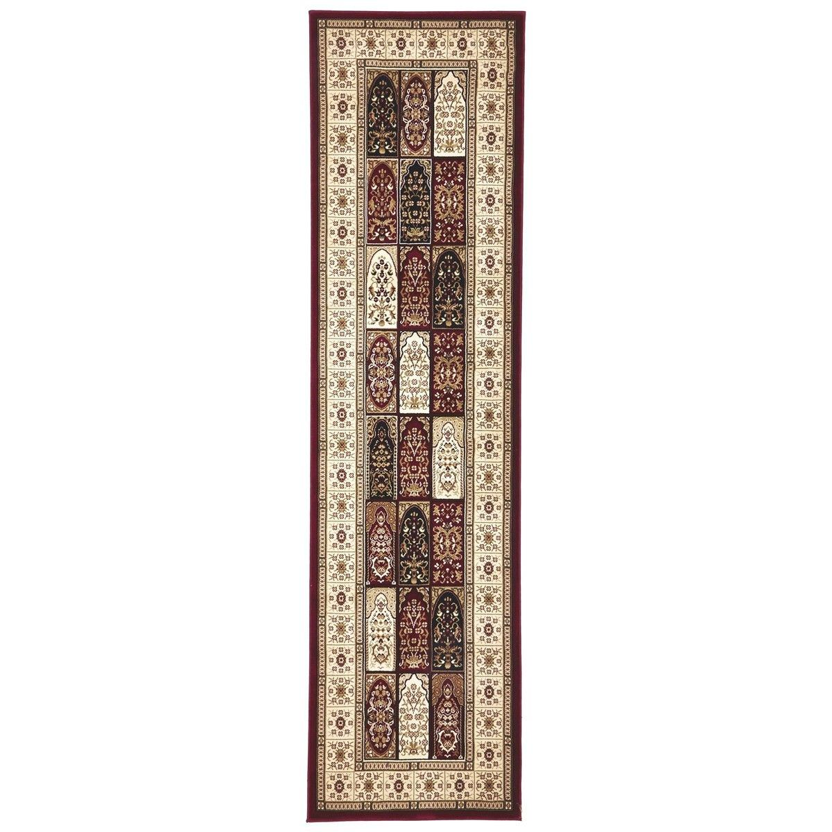 Sydney Traditional Tile Turkish Made Oriental Runner Rug, 300x80cm, Red / Ivory