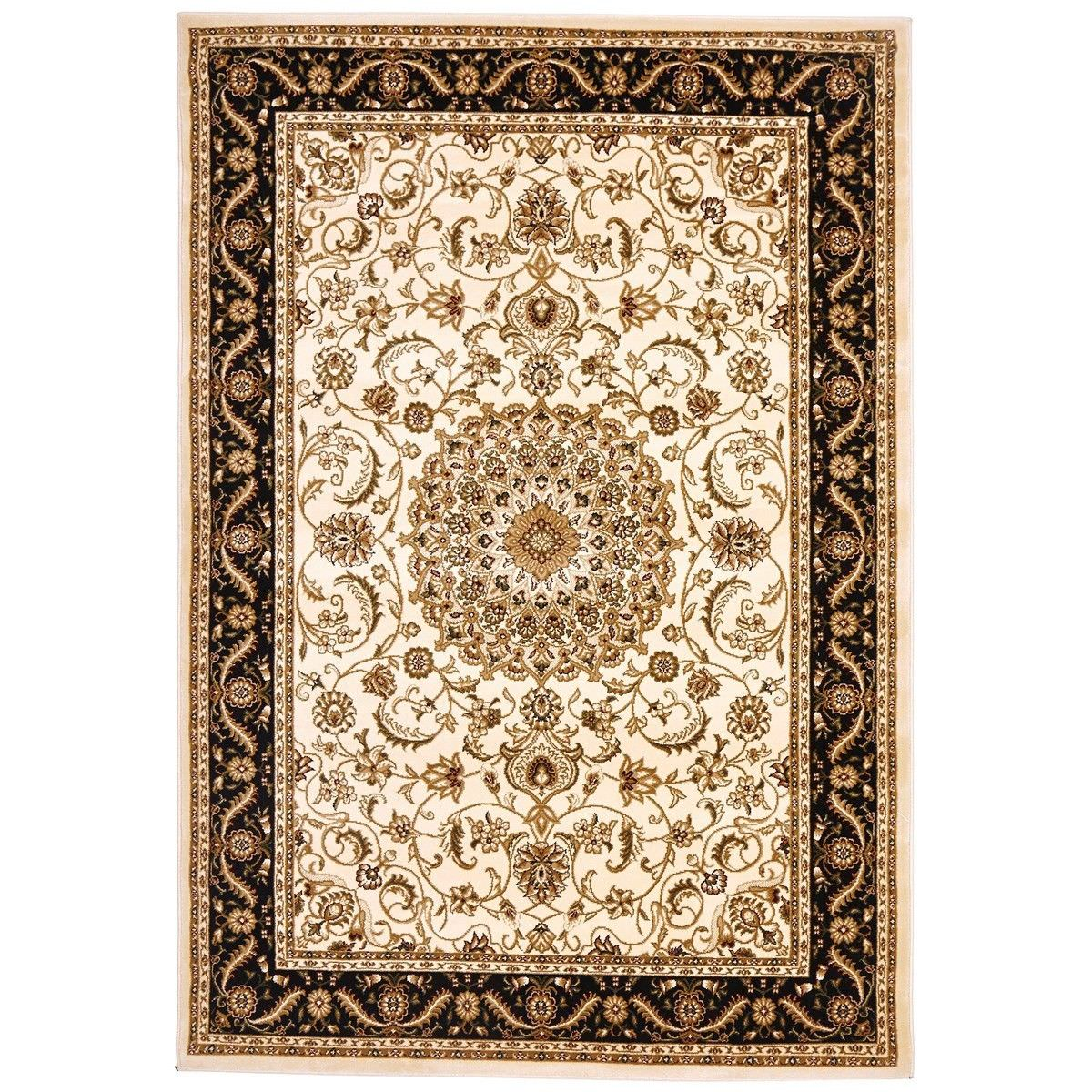 Sydney Medallion Turkish Made Oriental Rug, 150x80cm, Ivory / Black