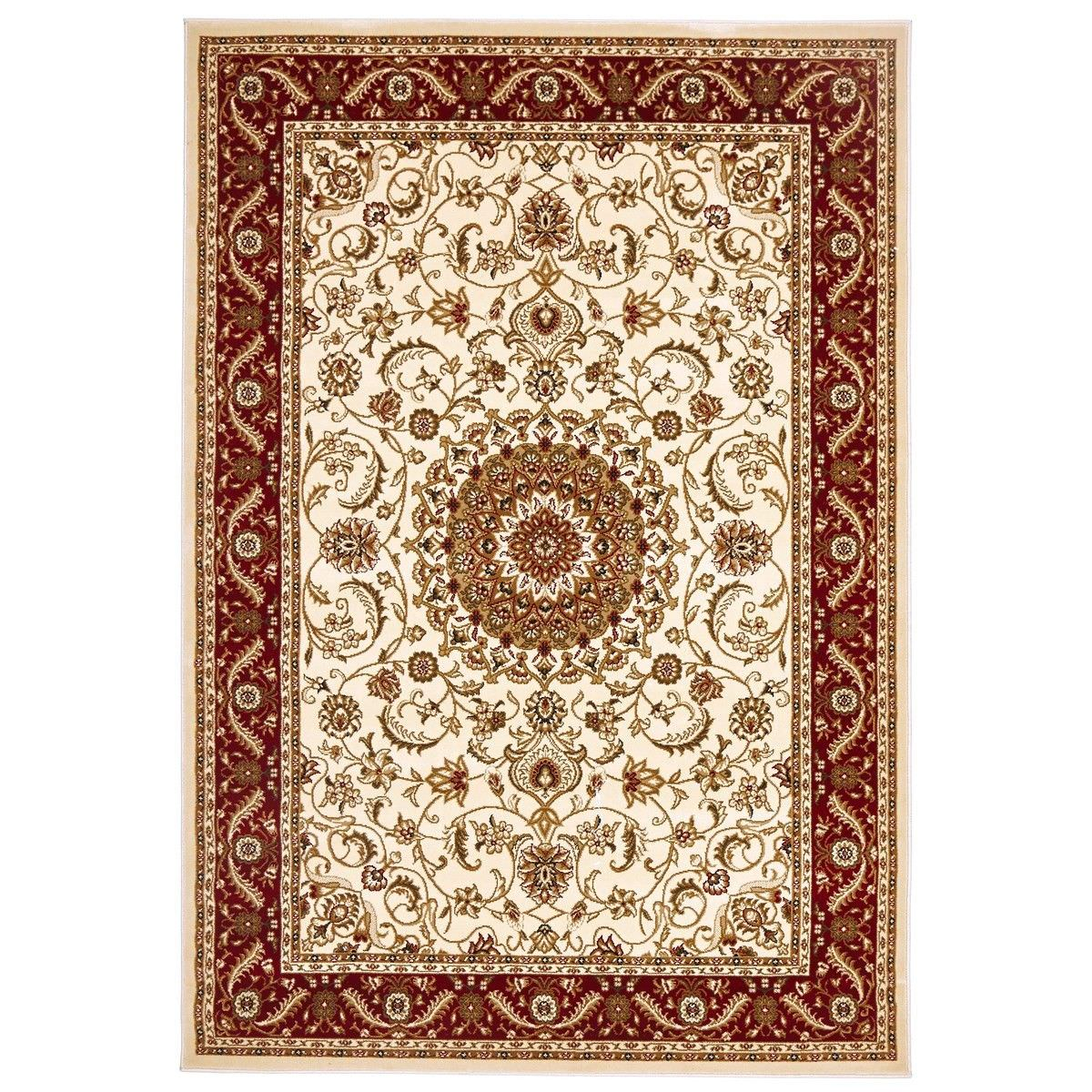 Sydney Medallion Turkish Made Oriental Rug, 230x160cm, Ivory / Red