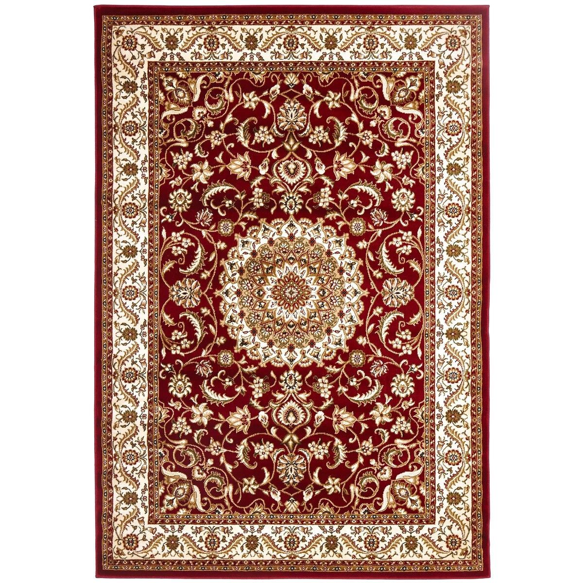Sydney Medallion Turkish Made Oriental Rug, 150x80cm, Red / Ivory